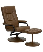 Contemporary Palimino Leather Recliner and Ottoman with Leather Wrapped Base BT-7862-PALIMINO-GG