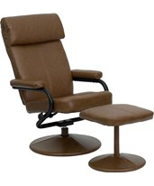 Contemporary Palomino Leather Recliner and Ottoman with Leather Wrapped Base BT-7863-PALOMINO-GG