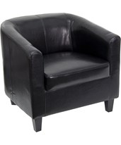 Black Leather Office Guest Chair / Reception Chair BT-873-BK-GG
