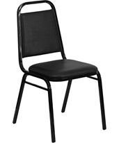 HERCULES Series Upholstered Stack Chair with Trapezoidal Back and a 1.5'' Padded Foam Seat - Black Vinyl with Black Frame FD-BHF-2-GG