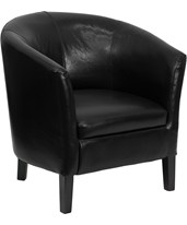 Black Leather Barrel Shaped Guest Chair GO-S-11-BK-BARREL-GG