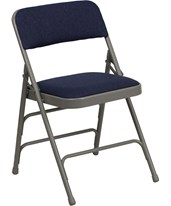 Hercules Series Curved Triple Braced & Quad Hinged Navy Fabric Upholstered Metal Folding Chair HA-MC309AF-NVY-GG