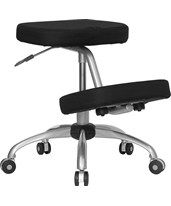 Mobile Ergonomic Kneeling Chair in Black Fabric with Silver Powder Coated Frame WL-1425-GG