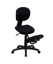 Mobile Ergonomic Kneeling Posture Task Chair in Black Fabric with Back WL-1430-GG
