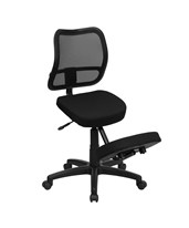 Mobile Ergonomic Kneeling Task Chair with Black Curved Mesh Back and Fabric Seat WL-3425-GG