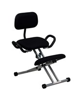Ergonomic Kneeling Chair in Black Fabric with Back and Handles WL-3439-GG