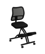 Mobile Ergonomic Kneeling Chair with Black Curved Mesh Back and Fabric Seat WL-3520-GG