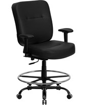 Hercules Leather Drafting Chair with Arms WL-735SYG-BK-LEA-AD-GG