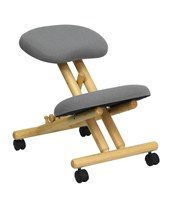 Mobile Wooden Ergonomic Kneeling Chair in Gray Fabric WL-SB-101-GG