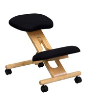 Mobile Wooden Ergonomic Kneeling Chair in Black Fabric WL-SB-210-GG