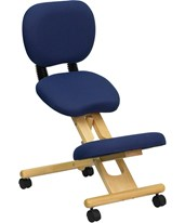 Mobile Wooden Ergonomic Kneeling Posture Chair in Navy Blue Fabric with Reclining Back WL-SB-310-GG