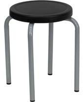 Stackable Stool with Black Seat and Silver Powder Coated Frame YK01B-GG