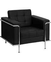 HERCULES Lesley Series Contemporary Black Leather Chair with Encasing Frame ZB-LESLEY-8090-CHAIR-BK-GG