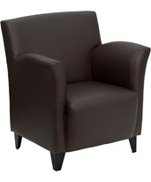 HERCULES Roman Series Brown Leather Reception Chair ZB-ROMAN-BROWN-GG