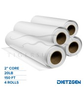"Dietzgen High Bright Inkjet Bond Paper, 20 lb, 2"" Core, 150ft. Rolls 740245U_x4"