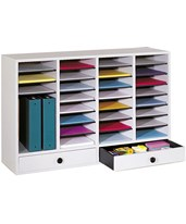 Wood Adjustable Literature Organizer with Drawers 9494GR