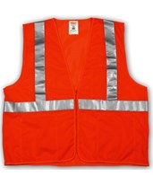"ANSI 107 CLASS 2 SAFETY VESTS - Fluorescent Orange-Red Mesh - 2"" Reflective Tape - Zipper Closure V70639.S-M"