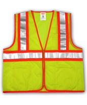 "ANSI 107 CLASS 2 SAFETY VESTS - Fluorescent Yellow-Green - Mesh - Two-Tone - 2"" Silver Reflective Tape V70642.S-M"