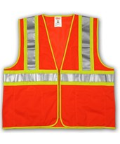 "ANSI 107 CLASS 2 SAFETY VESTS - Fluorescent Orange-Red - Mesh - Two-Tone - 2"" Silver Reflective Tape V70649.S-M"