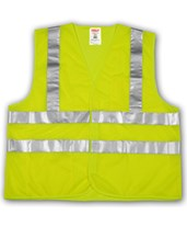 "ANSI 107 CLASS 2 SAFETY VESTS - Fluorescent Yellow-Green - Mesh - 2"" Horizontal Reflective Stripes V70722.S-M"