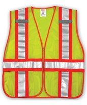 "ANSI 107 CLASS 2 SAFETY VESTS - Fluorescent Yellow-Green - Mesh - Two-Tone - 2"" Reflective H Pattern V70832.M-XL"