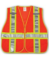 ANSI 107 CLASS 2 SAFETY VESTS - Fluorescent Orange-Red Mesh Two-Tone - Reflective H Pattern- 2 Mic Tabs V70839.M-XL