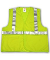 "ANSI 107 CLASS 2 SAFETY VESTS - Fluorescent Yellow-Green Solid - 2"" Reflective Tape - Hook & Loop Closure V71622.S-M"