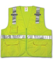 ANSI 107 CLASS 2 SAFETY VESTS - Solid/Mesh - Reflective H Pattern - 2 Mic Tabs V73832.S-M