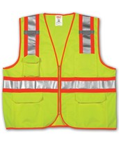 ANSI 107 CLASS 2 SAFETY VESTS - Fluorescent Yellow-Green Solid/Mesh Two-Tone - H Pattern - 2 Mic Tabs V73852.S-M
