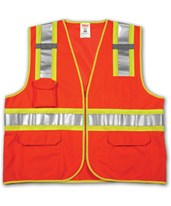 ANSI 107 CLASS 2 SAFETY VESTS - Fluorescent Orange-Red Solid/Mesh Two-Tone - H Pattern - 2 Mic Tabs V73859.S-M