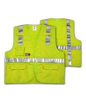 ANSI 107 CLASS 2 & ASTM F1506 FR SAFETY VESTS - Fluorescent Yellow-Green FR Solid - FR Reflective H Pattern - 2 Mic Tabs V81832.S-M