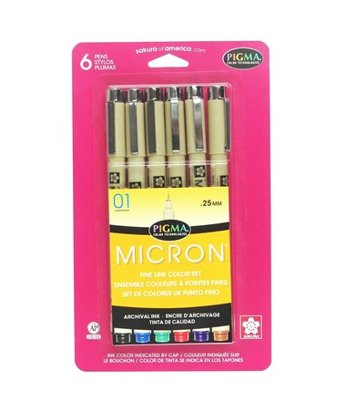 Sakura Pigma Micron Fine Line Color Set 0.25mm (Pack of 6) 30063