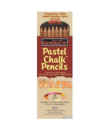 PASTEL CHALK PENCIL SET/8 WARM 4600-8A