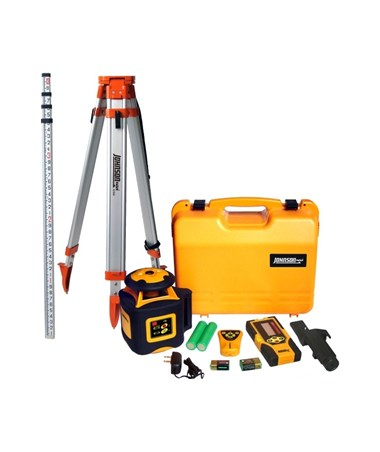 Johnson 40-6536 Electronic Self-Leveling Horizontal Rotary Laser Kit with Aluminum Tripod and Grade Rod JOH40-6536