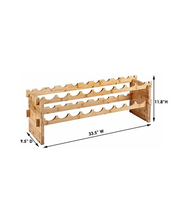 AdirHome 18-Bottle Bamboo Wine Rack 305