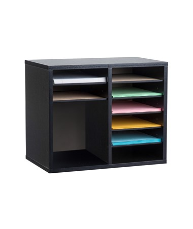 AdirOffice 9-Compartment Wooden Literature Organizer Black