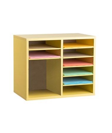 AdirOffice 9-Compartment Wooden Literature Organizer Yellow