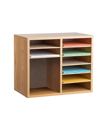 AdirOffice 9-Compartment Wooden Literature Organizer, Medium Oak