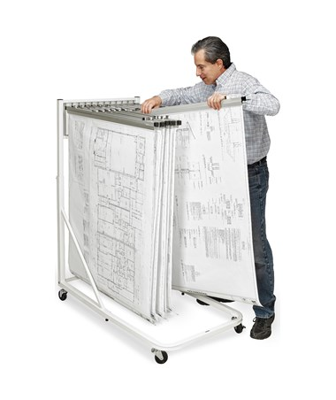 Adir Vertical File Rolling Stand With 12 Brackets, White 613-WHI