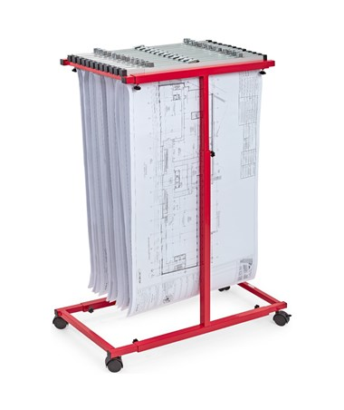Adir Mobile Vertical Plan Center, Red 614-RED