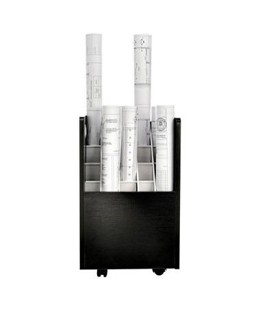 AdirOffice 20-Slot Mobile Wood Roll File, Black ADI624-BLK