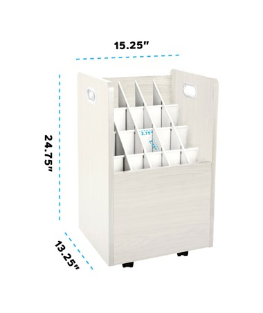 AdirOffice 20-Slot Mobile Wood Roll File, White ADI624-WHI