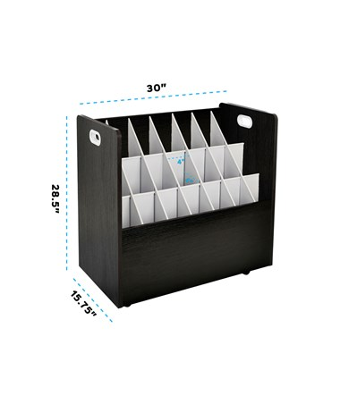 AdirOffice 21-Slot Mobile Wood Roll File, Black ADI625-BLK
