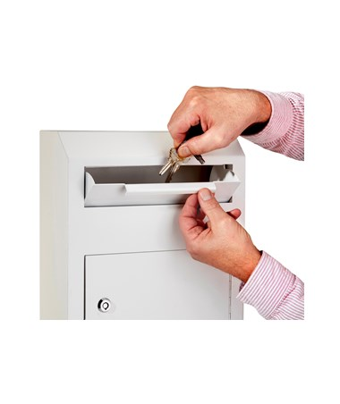 AdirOffice Heavy Duty Secured Drop Box White 631-07-WHI