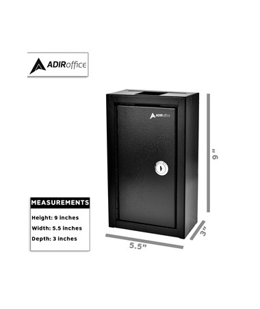 AdirOffice Large Key Drop Box Black 631-12-BLK
