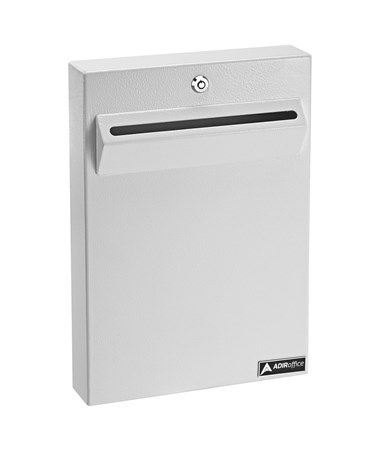 AdirOfffice Wall Mount Drop Box for Secure Document Storage White 631-14-WHI