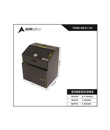 AdirOffice Black Steel Suggestion Box W// Lock Collection Drop Box Wall Mountable