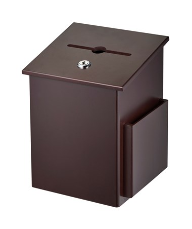 AdirOffice Squared Wood Suggestion Box Mahogany ADI632-01-MA