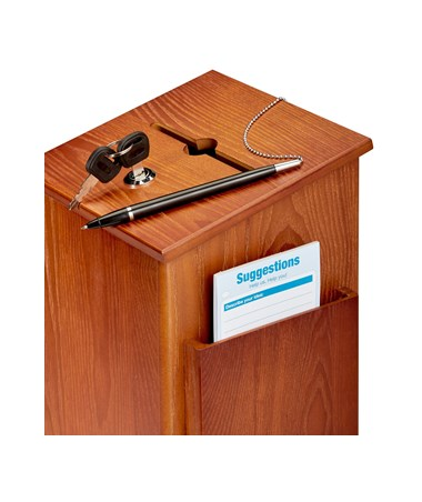 AdirOffice Squared Wood Suggestion Box Medium Oak ADI632-01-MEO