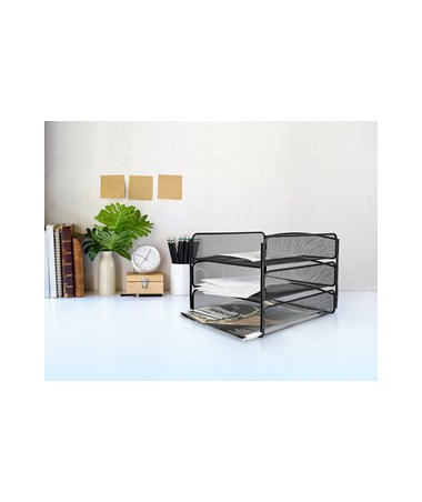 AdirOffice Triple-Tray Mesh Desktop Organizer Black 634-02